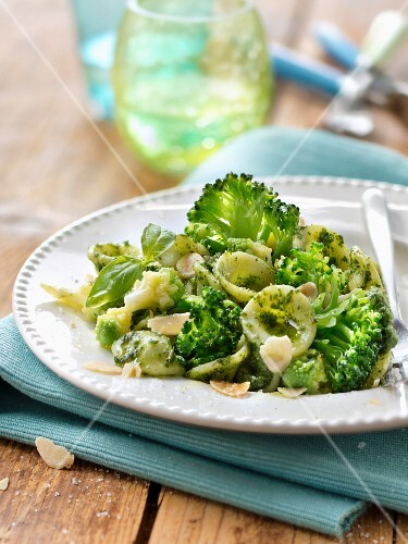 Orecchiette with broccolis,romanesco cabagge and salsa verde with almonds