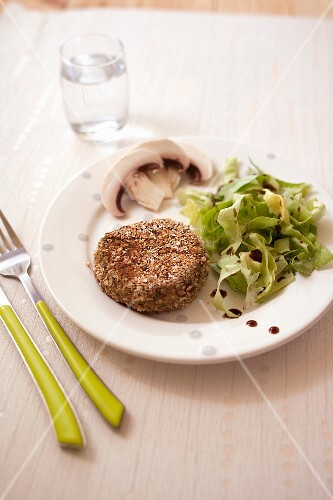 Smoked tofu and green lentil vegan burger