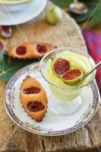 Fig Financiers ,turmeric ice cream and tonka beans