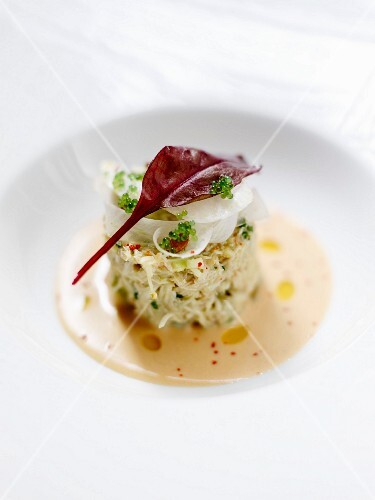 Crab and celeriac remoulade with cold bisque sauce