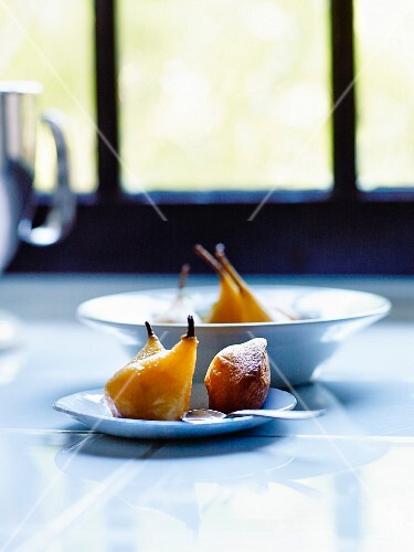 Gluten-free pears poached in red wine