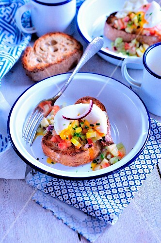 Tunisian tartare with a soft-boiled egg on toast