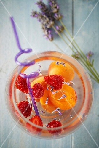 Apricot,strawberry and lavander detox water