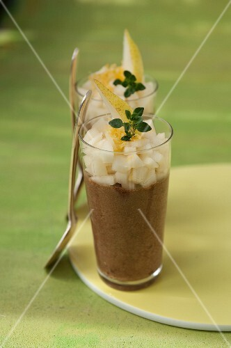 Chocolate mousse with diced pears,lemon zests and fresh thyme