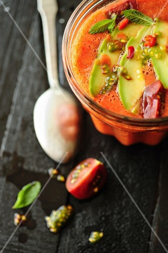 Watermelon and tomato gaspacho with thin slices of avocado