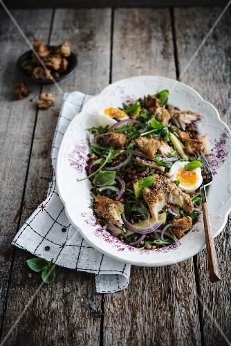 Lentil salad with mackerel and soft-boiled egg