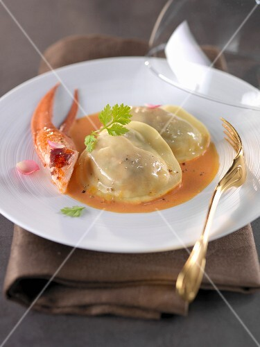 Bisque with lobster raviolis