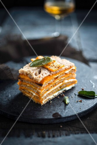 Bread,pumpkin and sage ricotta Mille-feuille