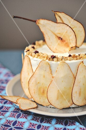 Roquefort,walnut and pear layer cake