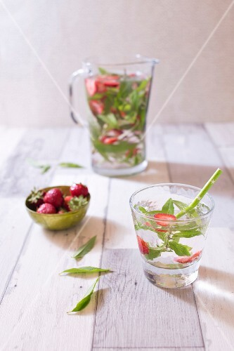 Chilled detox water with strawberries and lemon verbena