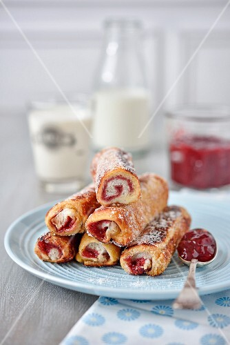 Red berry jam french toast rolls