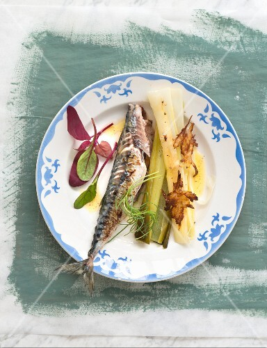 Grilled mackerel,steamed leeks with spicy butter and fried onions