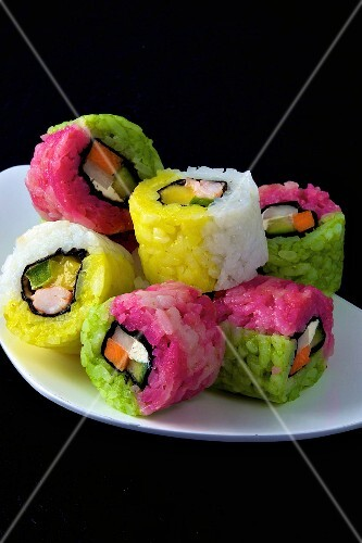 Colored Californian makis