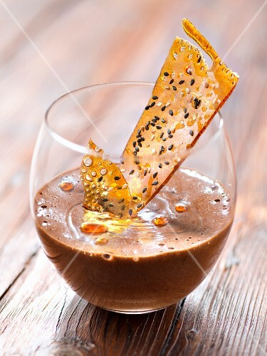 Chocolate mousse,caramel and sesame seed tuile