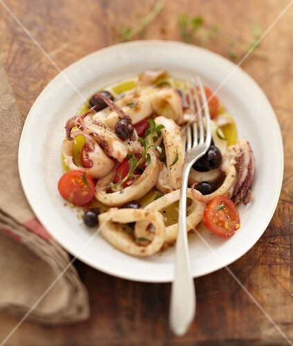 Squid, olive and savory salad