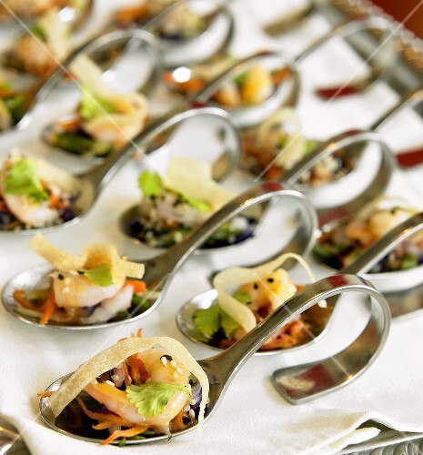 Many asian shrimp appetizers on spoons buy images for Asian cuisine appetizers
