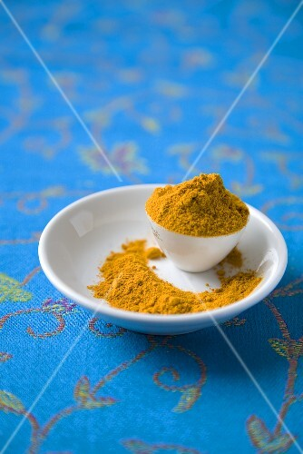 Turmeric in a Small Bowl and Dish