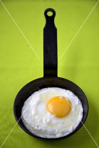 Fried Egg in Small Skillet; Green Background