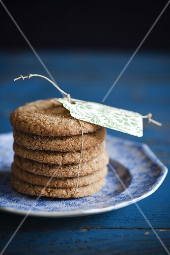 Sugar Cookies Stacked on a Plate; Tied with a Tag