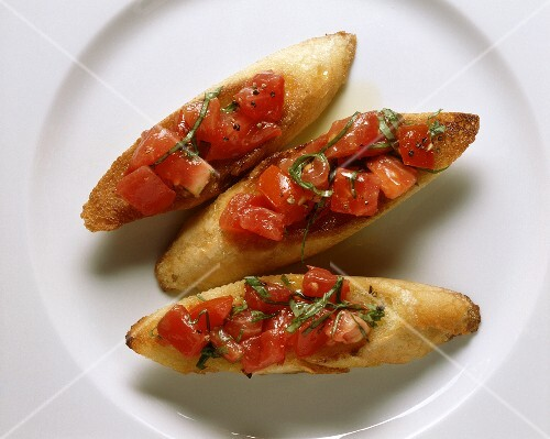Bruschetta (toasted bread with tomato), Tuscany, Italy