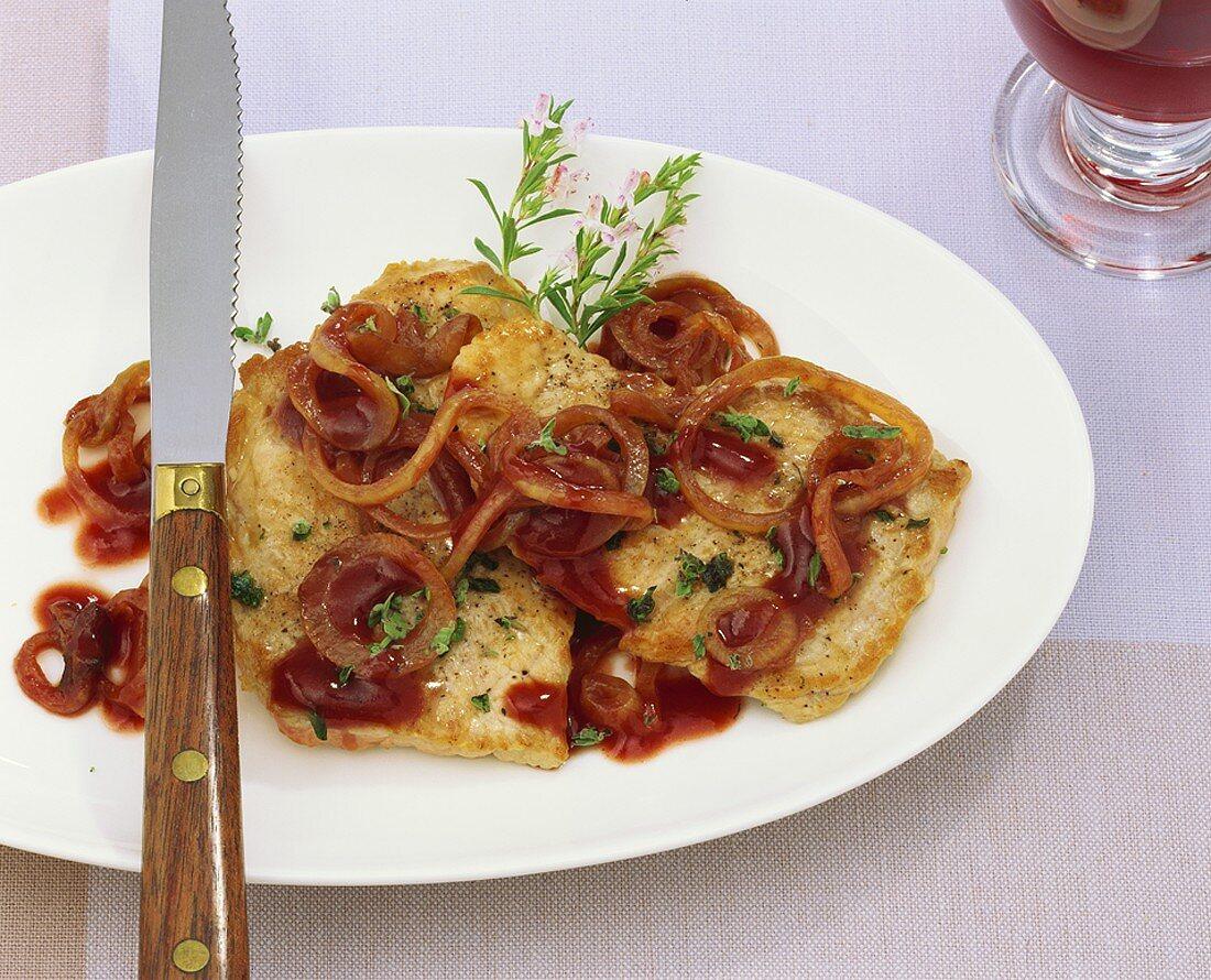 Pfälzer Weinschnitzel (Pork escalopes in wine sauce, Palatinate, Germany)