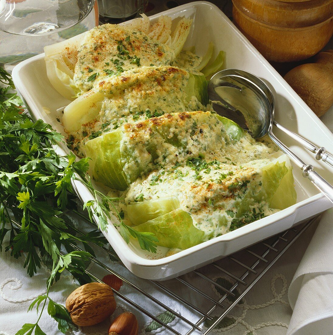 Baked cabbage with nut topping