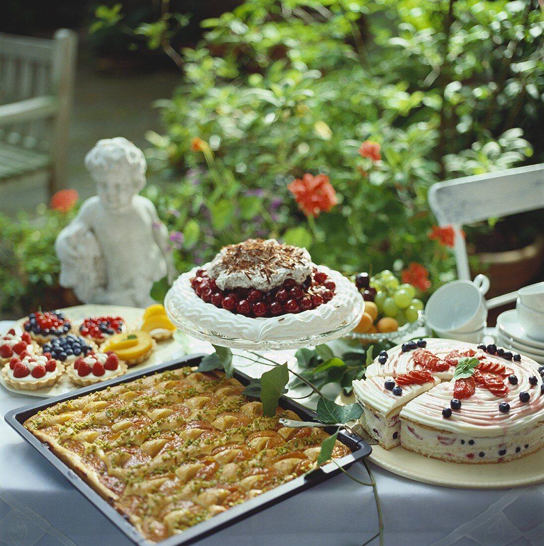 Summer cake buffet in garden