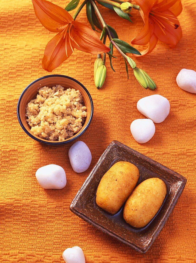 Makar Chaula & Mishti Alur Puli (Indian rice & sweet potato desserts)