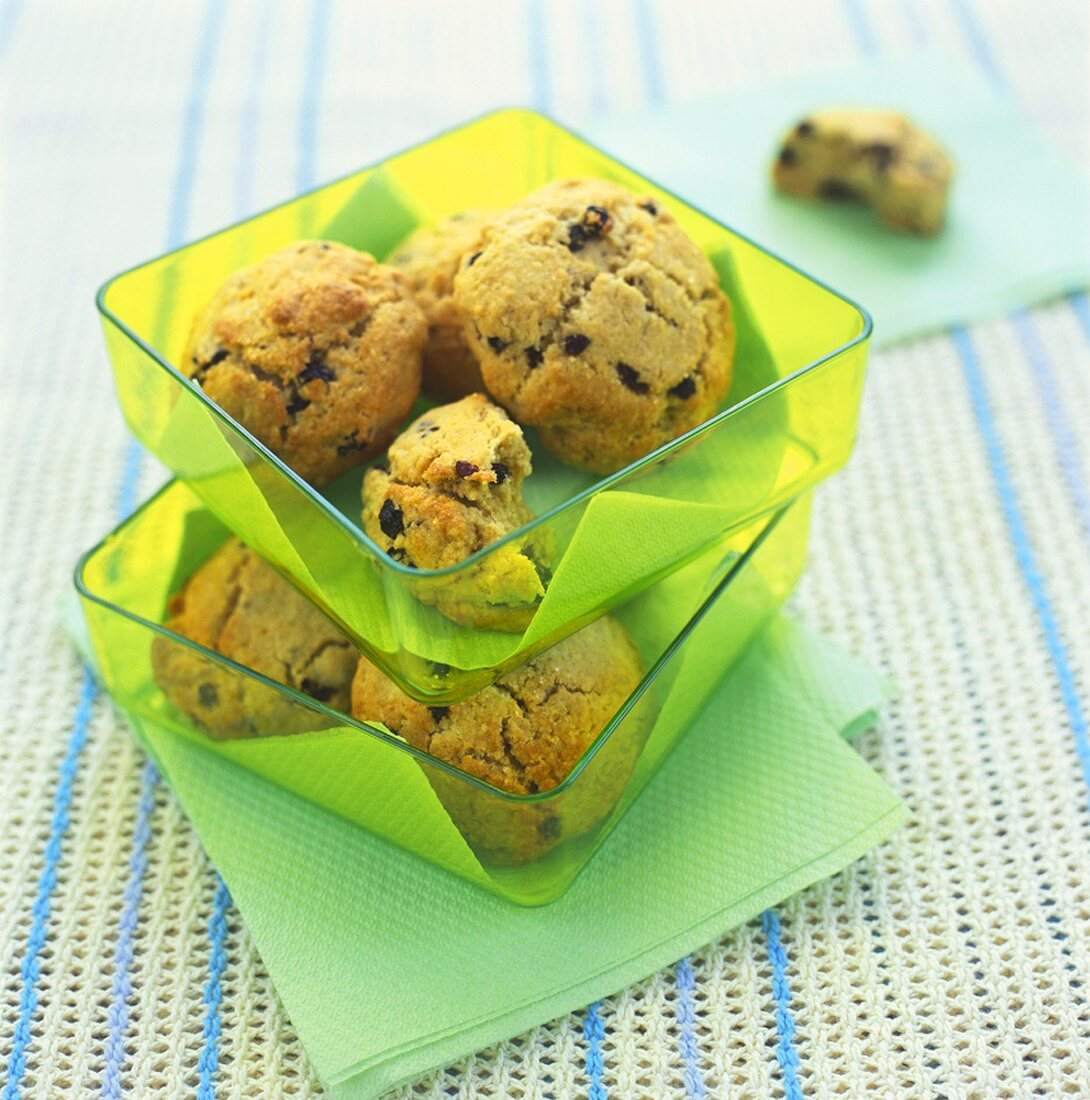 Rock cakes in two plastic dishes (UK)