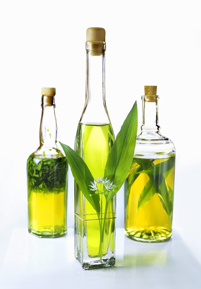A bottle of ramsons (wild garlic) oil