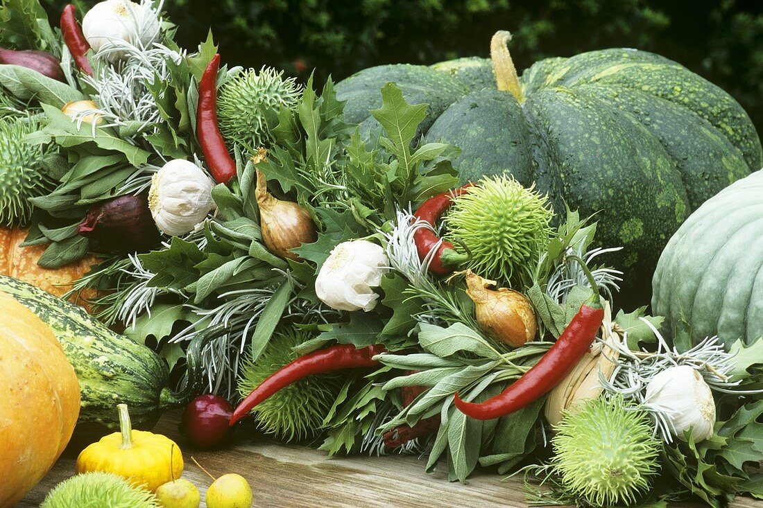 Autumnal arrangement of vegetables, herbs and spices