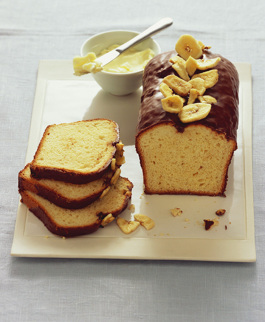 Chocolate-coated banana bread with banana chips