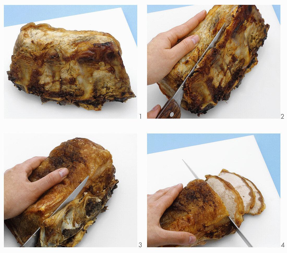Carving loin of pork