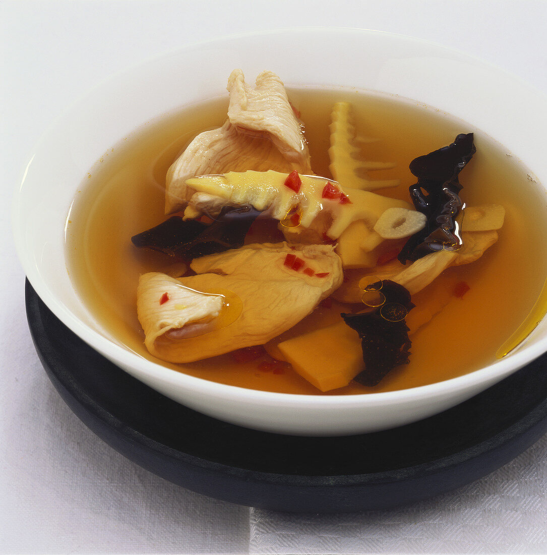 Spicy sweet & sour soup with jelly ear fungus & chicken breast