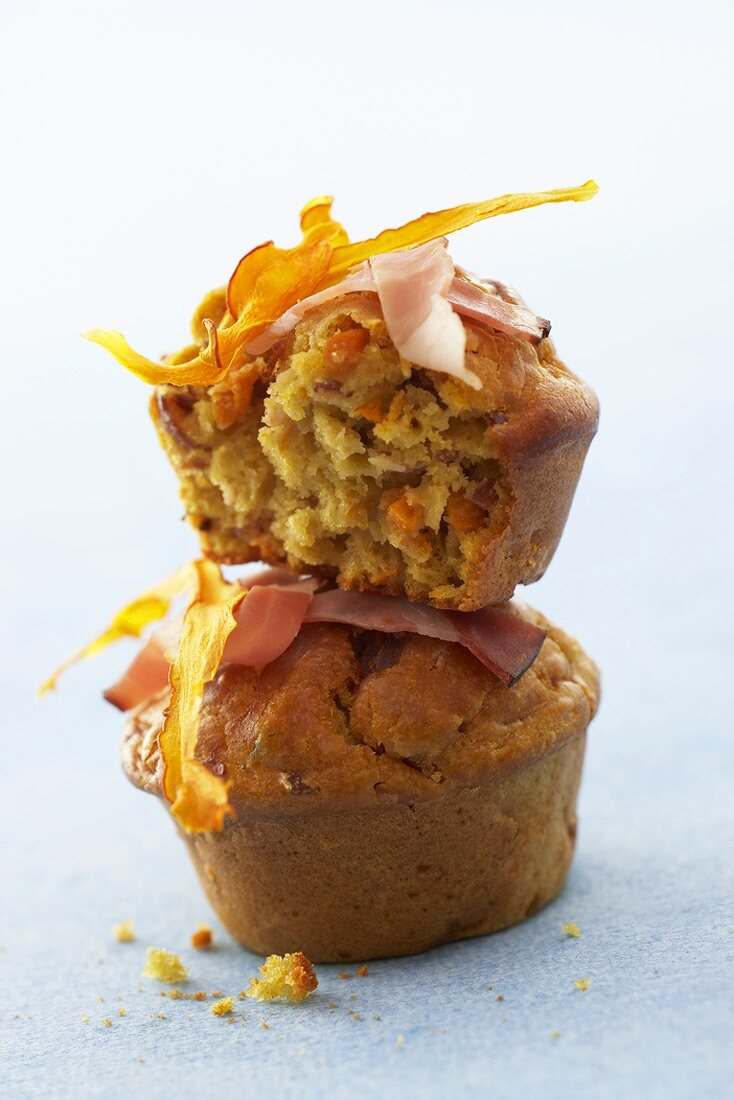 Two pumpkin muffins with bacon