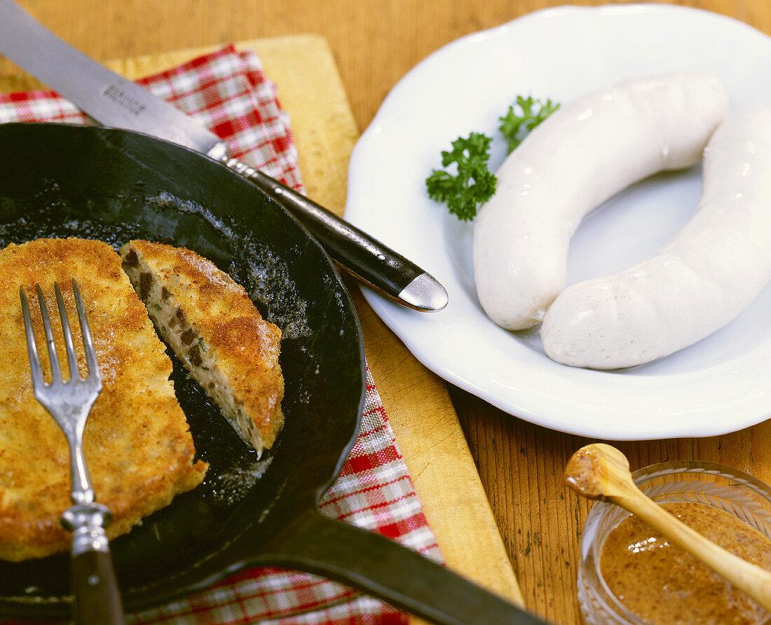 Briesmilzwurst (veal milt & sweetbread patty), Munich Weisswurst