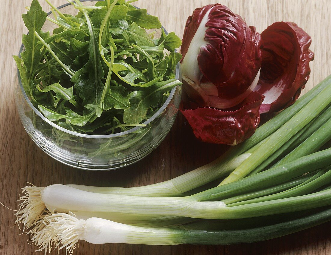 Spring onions, radicchio and a bowl of rocket