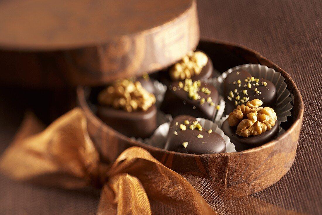 Marzipan chocolates in gift box