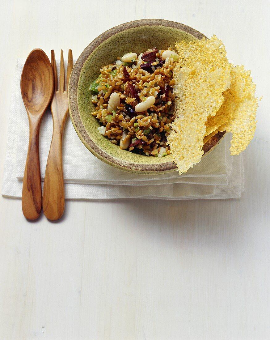 Fagioli e farro (Pulse salad with emmer wheat, Italy)