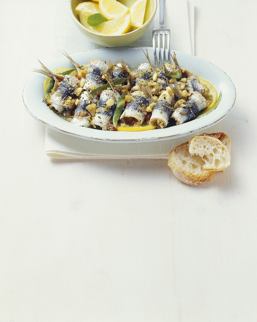 Sarde a beccafico (Stuffed sardine rolls, Italy)