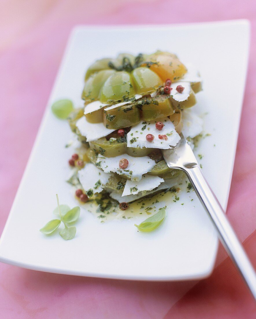 Beefsteak tomato with herbs & ricotta dura (hard ricotta)