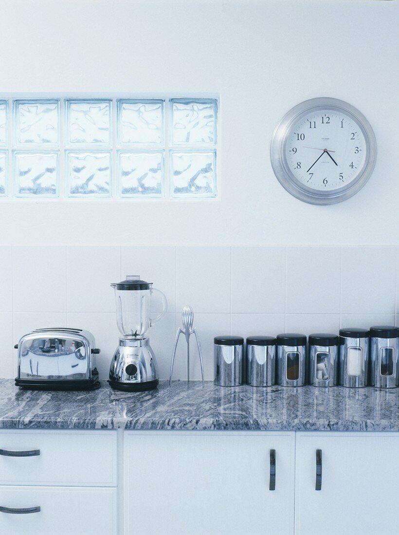 Kitchen worktop with kitchen equipment