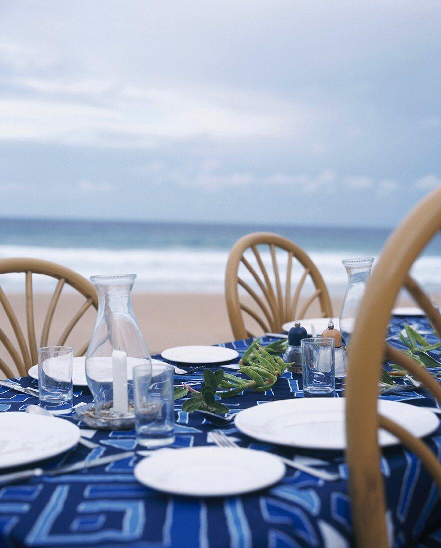 Set table on beach