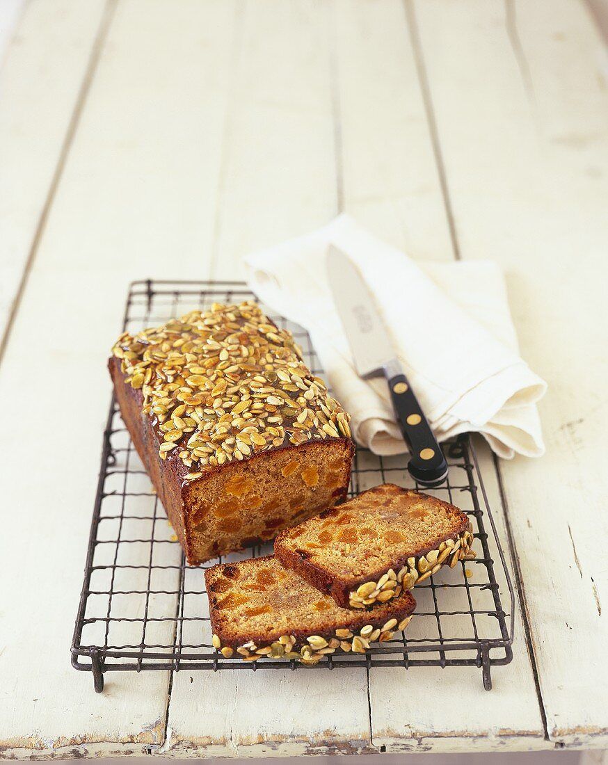 Banana and apricot loaf with seeds