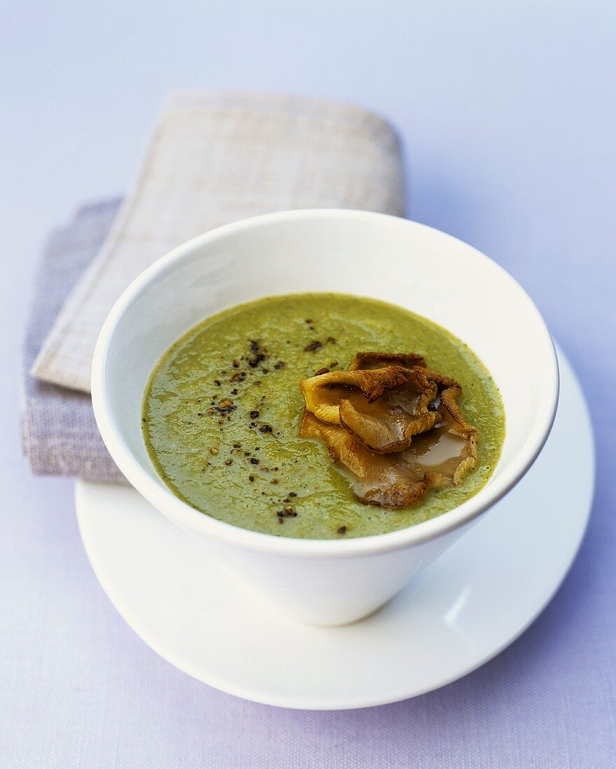 Broccoli miso soup with oyster mushrooms