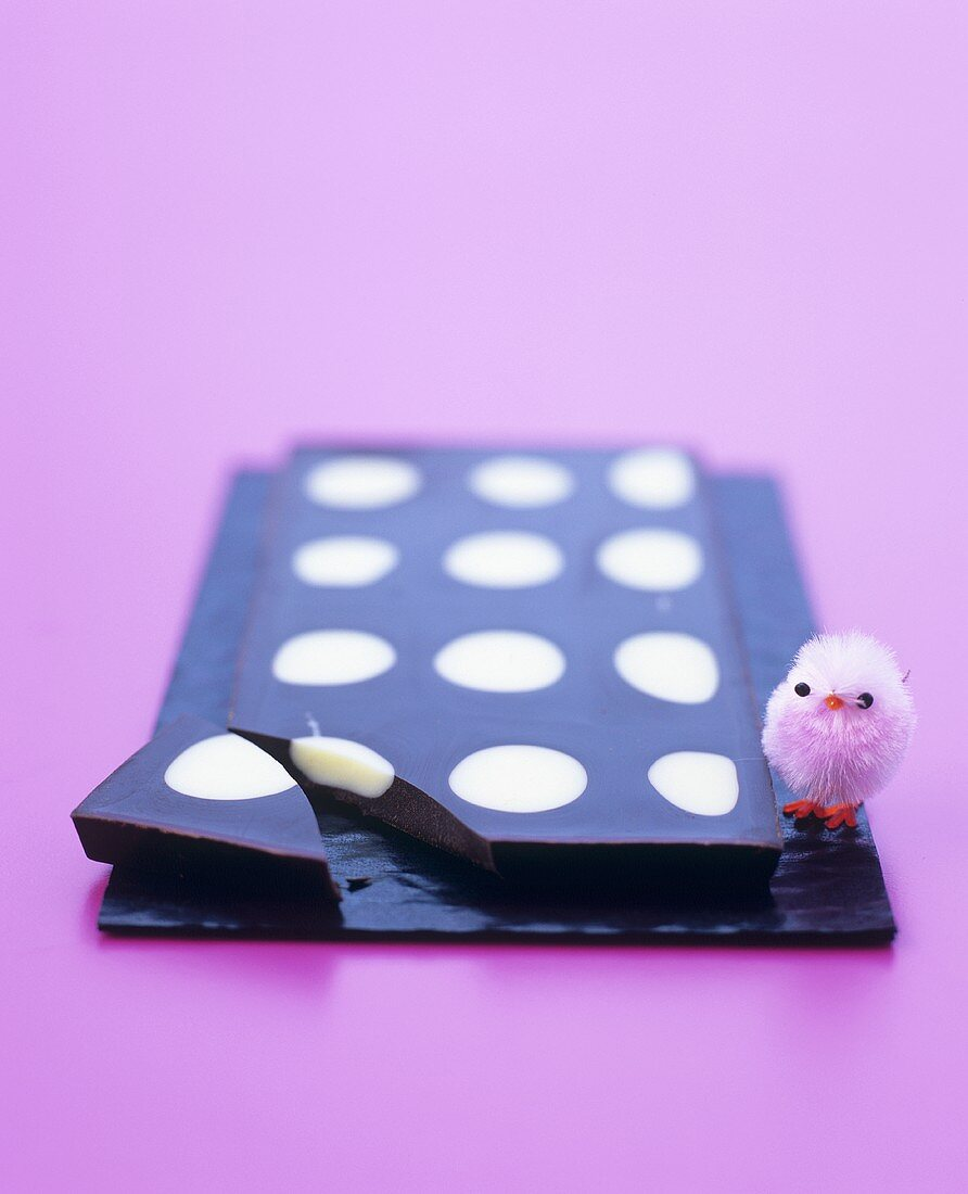 A bar of chocolate with a chick for Easter