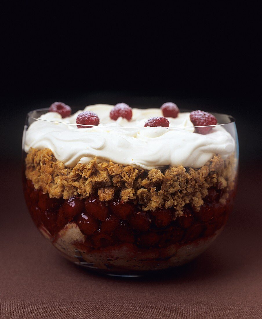 Scottish trifle with raspberries and orange whisky cream