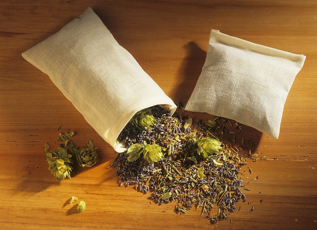 Fragrance bags filled with dried medicinal plants