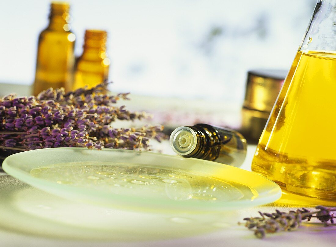 Lavender oil in shallow dish