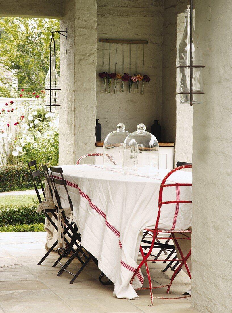 A table on a terrace